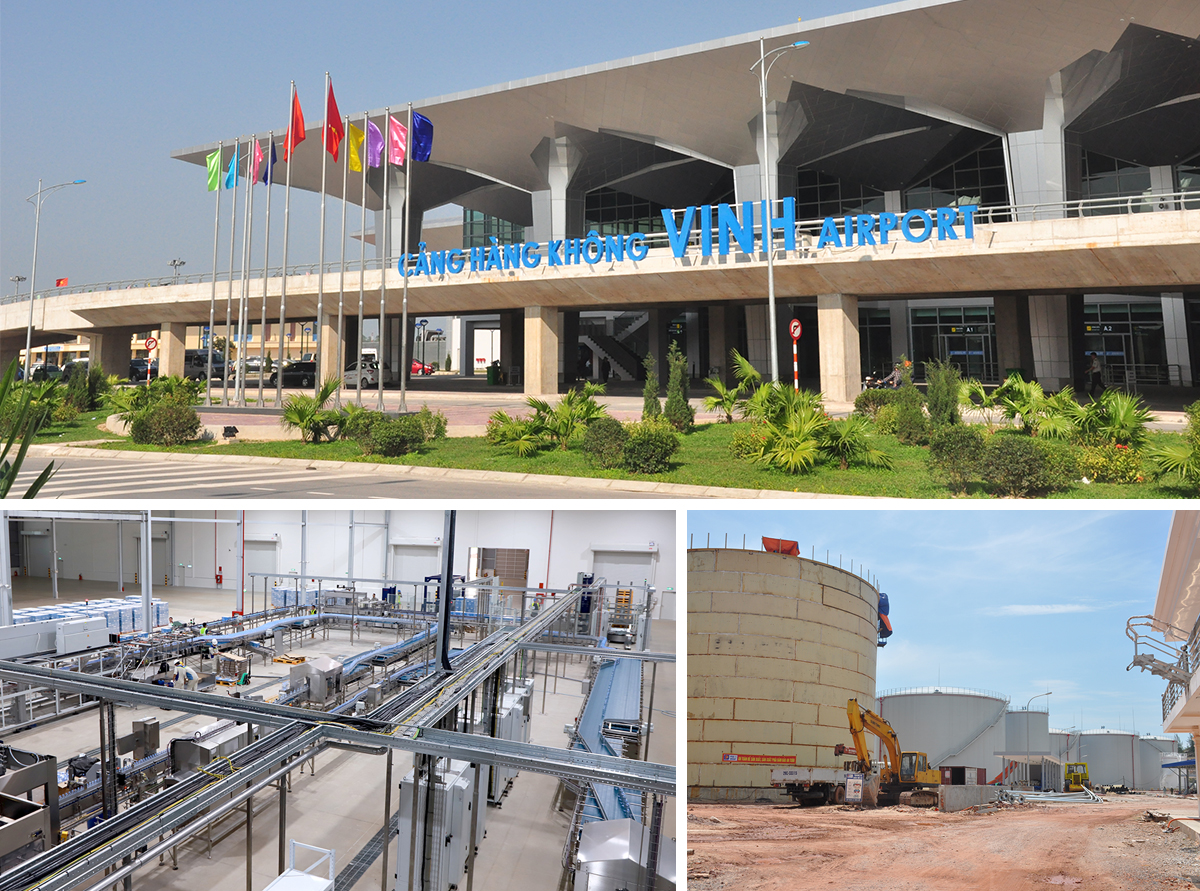 Vinh International Airport; Nui Tien juice and pure water factory in Nghia Dan District; DKC Petroleum Depot in Nghi Thiet Commune (Nghi Loc District).